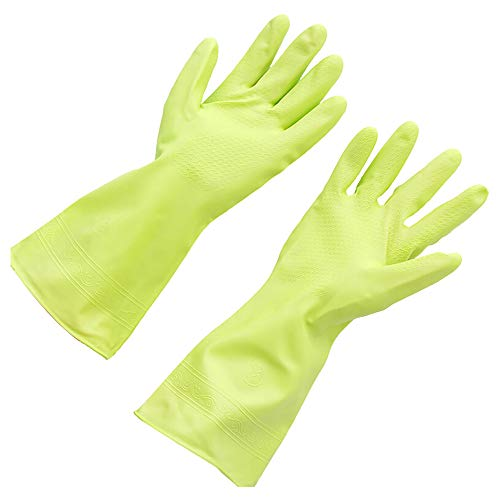 Reusable Dishwashing Gloves with Latex Free Kitchen Bathroom Cleaning Size Large 1 Pair Green
