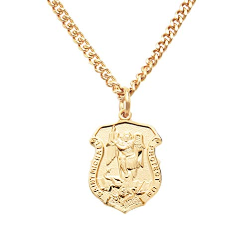 Rosemarie's Religious Gifts 16K Yellow Gold Layered Saint Michael Police Badge Pendant Necklace, 20'
