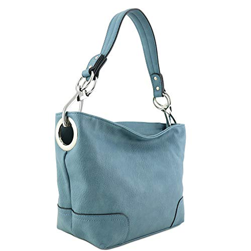 Hobo Shoulder Bag with Snap Hook Hardware Small (Blue-Grey)