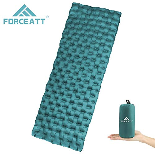 Forceatt Inflatable Sleeping Mat Ultralight Camping Mattress Waterproof and Tear Resistant, Convenient small Package Size Sleeping mat, Single Bed Portable Air Pad for Trekking Backpacking