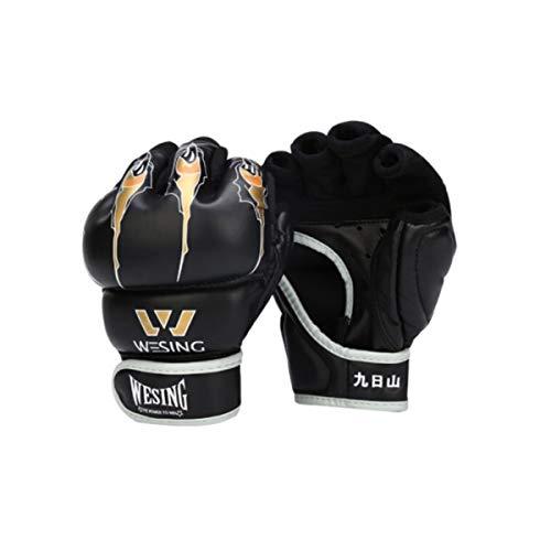 HYCSP Halbfinger-Boxhandschuhe, Adult Sanda, Kampfsporthandschuhe, MMA-Handschuhe, Taekwondo-Sandsäcke, Sandsackhandschuhe, UFC-Fingerhandschuhe, PU-Rot (EIN Paar) (Color : Black, Size : 7oz)