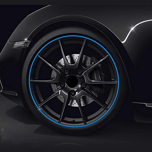 (Azul) PVC hecho de rueda de coche Trim Ring Shell Ring para llantas de 13-22 pulgadas
