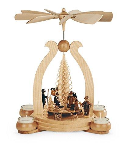 Teelichtpyramide Tischpyramide Waldmotiv 1-stöckig natur mit Teelichter (LxBxH):25x19x34cm NEU Tischdekoration Dekoration Weihnachten Wärmespiel Lichter Figur Edelholz Seiffen Erzgebirge Holz Flügel