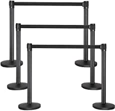 Yaheetech 6-Pack Stanchion Crowd Control Barrier Posts with 6.5 Foot Retractable Belt Black