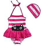 女の子の連体水着(3歳~8歳) (130, pink)