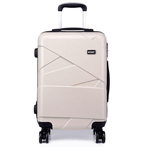 Kono Lightweight 4 Spinner Wheels Hardshell PC Travel Trolley Suitcase Luggage 28 Inch (28',Beige)