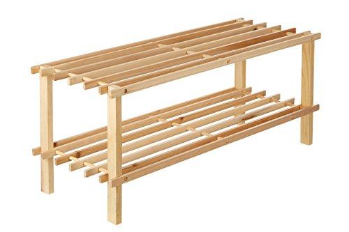 Premier Housewares 2-Tier Slatted Natural Cedar Wood Shoe Rack