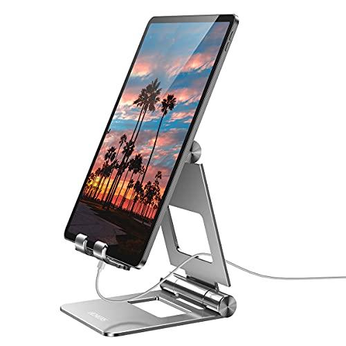 licheers verstellbare Tablet Ständer, Tisch Tablet Stand: universal Tablet Halterung kompatibel mit 2018 Pad Pro 10.5/9.7, Pad Air 2 3 4, Pad Mini 2 3 4 & Geräte von 4-13 Zoll (Silber