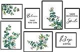 Conjunto de 7 Flores Rosas Planta Cuadros de pared,Eucalipto Verde hojas Imagen,Citas Inspiradoras Impresiones de Arte Decoración para la Sala de estar del Dormitorio,3xDIN A3+ 4xDIN A4,Sin Marco