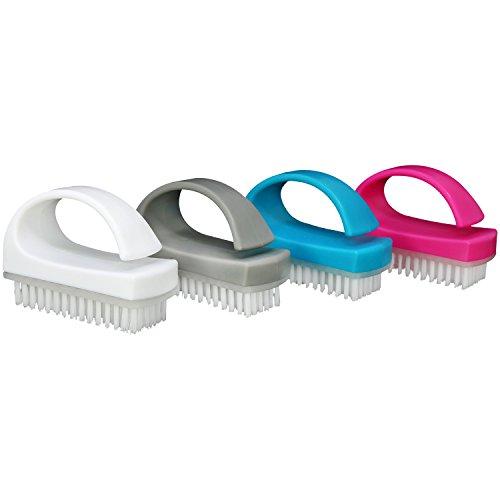 com-four® 4X Handbürste - Nagelbürste mit Griff - Handwaschbürste, Reinigungsbürste in blau, weiß, pink und grau (04 Stück - Farbmix 3)