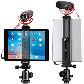 Aluminum Pad Tripod Mount Holder Attachment,Tablet Tripod Adapter Bracket w Cold Shoe Mount 1/4 inch Screw for Tripod Monopod Compatible with iPad Pro, iPad Air, iPad Mini Video Recording