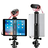 Aluminum Pad Tripod Mount Holder Attachment,Tablet Tripod Adapter Bracket w Cold Shoe Mount 1/4 inch Screw for Tripod Monopod Compatible with iPad Pro, iPad Air, iPad Mini Video Recording