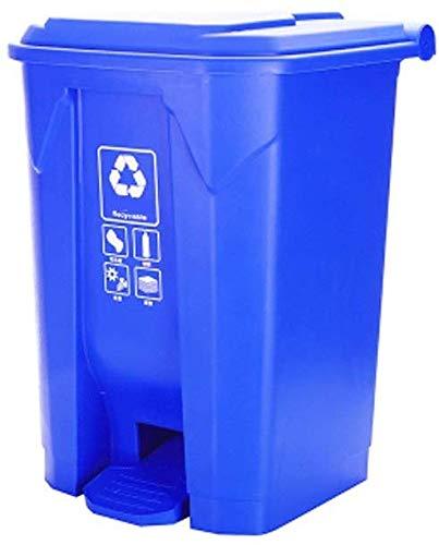 FHKBK Papelera con pedal para exteriores, para restaurante, escuela, parque, cuadrado, grande, color verde, reciclaje (color: azul, tamaño: 15 L)