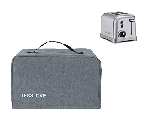 TESSLOVE Toaster Dust Cover Compatible with Cuisinart 2 Slice Toaster, with 2 Pockets can Put Jam Spreader Knife & Toaster Tongs