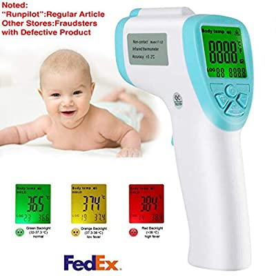Runpilot Infrared Forehead Thermometer,Non-Contact Digital Laser Infrared Thermometer Portable Body Basal Thermometer with Fever Alarm and LCD Display for Baby Adult and Child