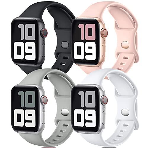 JUVEL Correa Compatible con Apple Watch Correa 44mm 42mm, Correas Deportivas de Silicona de Recambio Compatibles con iWatch Series 6/5/4/3/2/1/SE, 44mm/42mm M/L, Negro/Blanco/Gris/Rosa Arena