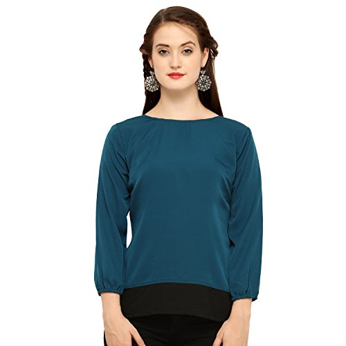 J B Fashion Women's Plain Regular Fit Top (D NO-100-S_Blue_Small)
