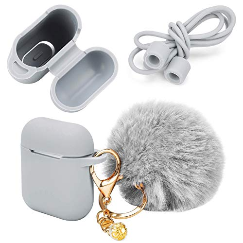 Earphone Silicone Case Cover Skin with Fur Ball Key Chain and Locking Carabiner Compatible with AirPods Charing Case - Hang Case Cover with Anti-Lost Strap as Headphone Accessories (Gray)