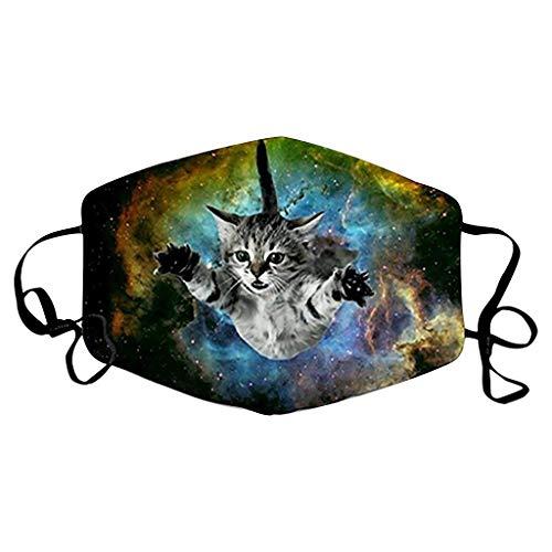 Loopardo Mundschutz Multifunktionstuch 3D Katze Hund Drucken Bandana Maske Animal Print Waschbar Stoffmaske Baumwolle Mund-Nasen Bedeckung Atmungsaktiv Tiermotiv Halstuch Schals Herren Damen