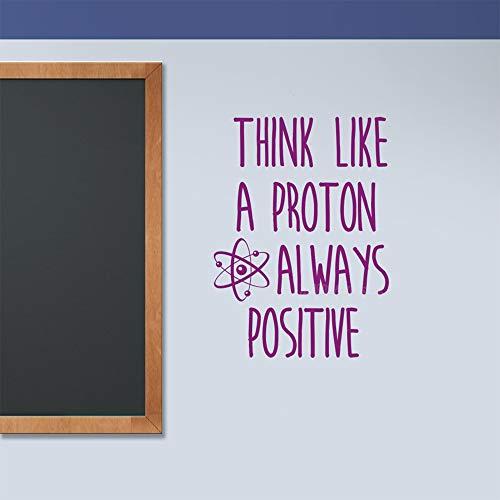 42x58cm, PVC Wandaufkleber, Denken Sie wie ein Proton Atom Klasse Wissenschaft Immer Positive Motivation Zitat Aktivität Brief Aufkleber Dekoration Geschenk Leben Gedruckt Fenster