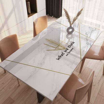 QFWN Nordic Marble Coffee Table Mat PVC Soft Glass Tablecloth Table Pad Home Decor Dining Table Mat Upgrade Tasteless (Color : I, Specification : 70x140cm)