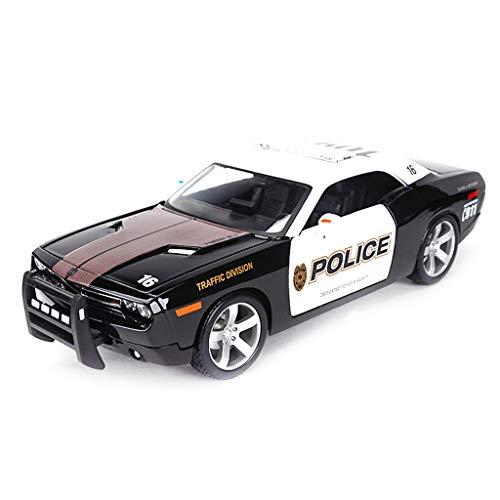 Modelo de Coche 1:18 Dodge Challenger simulación de aleación de fundición a presión Adornos de Juguete policía Coche Deportivo colección de Coches joyería 26.3x10x7.5 CM