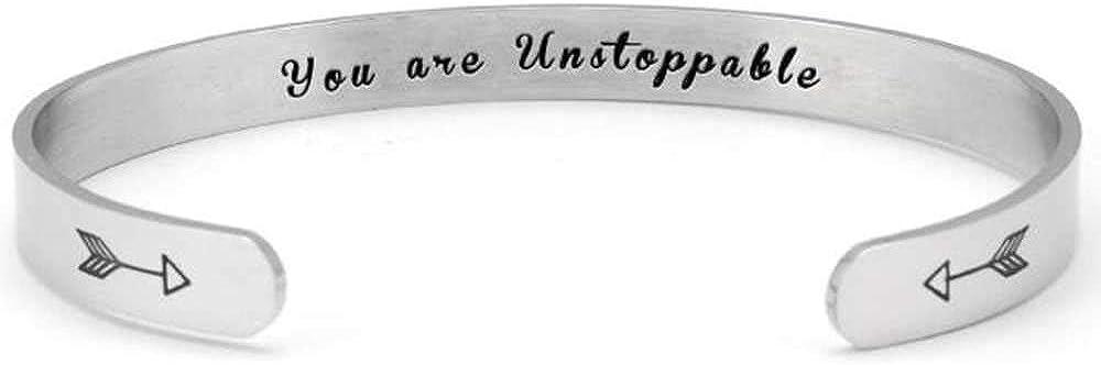 6mm Stainless Steel Inspirational Courageous Mantra Graduation Christmas Children Bangle Bracelet