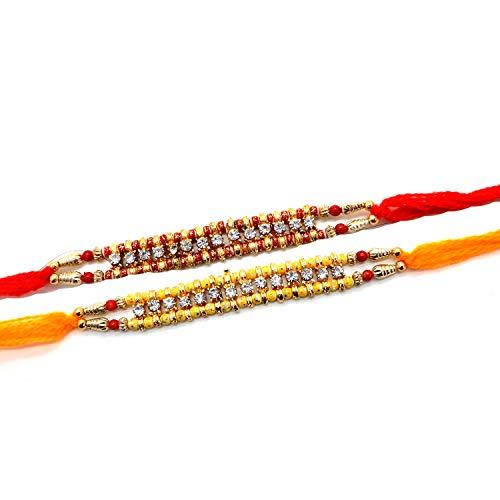 Set di due Rakhi, 14 fili Stone Rakhi, Raksha bandhan Gift per il tuo fratello Vary Color e Multi Design