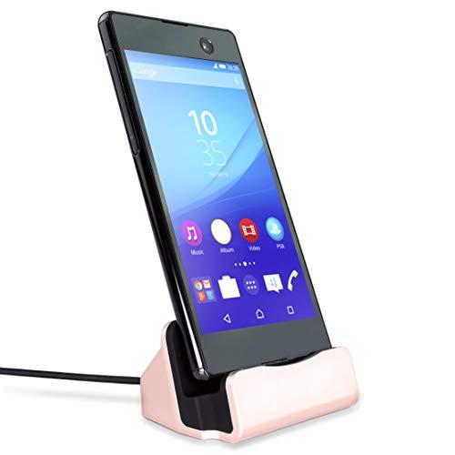 MyGadget Dockingstation Ladestation [Micro USB] für Android Smartphones - Stand Dock + 1m Kabel für z.B. Samsung Galaxy S7 S6 (Edge), Huawei - Rosé Gold