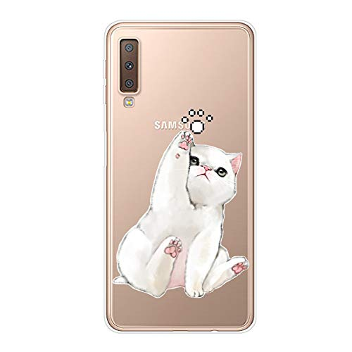 Uposao Coque pour Samsung Galaxy A7 2018,Étui Transparent Motif Jolie Cool Silicone Gel TPU Souple Ultra Slim Ultra Hybrid Case Bumper Anti Choc Housse de Protection pour Galaxy A7 2018,Chat Mignon