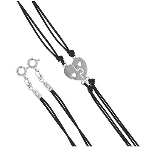 Les Trésors De Lily [P1936 - Break-Off Silberne armbänder 'Love Puzzle' schwarz Silber (Rhodium).