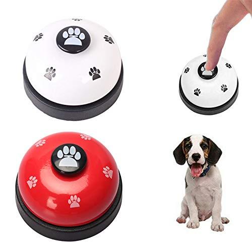 BONHHC Campanas de Entrenamiento para Mascota/Interactivos Perros Campanas Timbre/para Entrenar a tu Cachorropara Alimentación de Perros y Gatos/2 Piezas/Blanco y Rojo