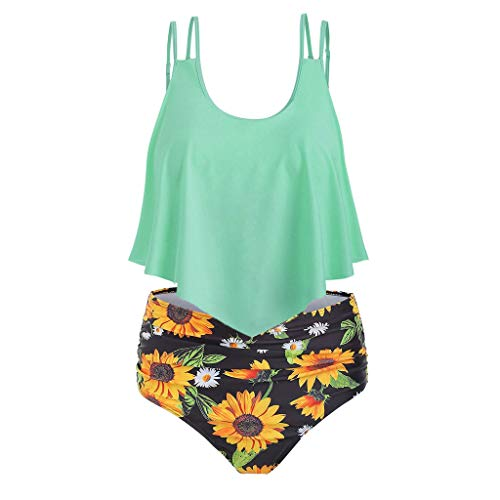 Ulanda-Swimsuits Swimsuits For Women Bathing Suits Flounce d Top With Bottom Tankini Swim Suits Large Z-12 Green