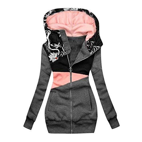 CONMAO Hooded Rain Jacket for Women - Print Hat Long Jackets Long Coat with Hood Open Hooded Zip Up Sweatshirt with Pockets Gray