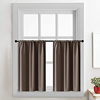 CUTEWIND Blackout 36 inches Long Kitchen Curtains Coffee Brown Window Curtain Panels Rod Pocket Drapes Thermal Insulated Light Reducing Tier Curtains for Small Windows 1 Pair
