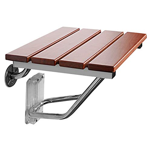 Giantex 15' Folding Shower Seat Bench Wooden Wall Mount Solid Wood Construction W/Steel Frame, 300lb Capacity for Senior, Handicap Disabled, Medical Use Foldable Bathroom Stool Foldaway Shower Chair