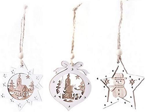 101DIYStudio 12 colgantes de madera pequeños para decoración de Navidad en forma dulce, decoración de árbol de Navidad