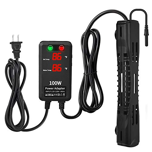 SZELAM Submersible Aquarium Heater100W Fish Tank HeaterIntelligent Temp Probe with External Temperature Controller and Dual Temperature DisplaySuitable for Marine Saltwater and Freshwater