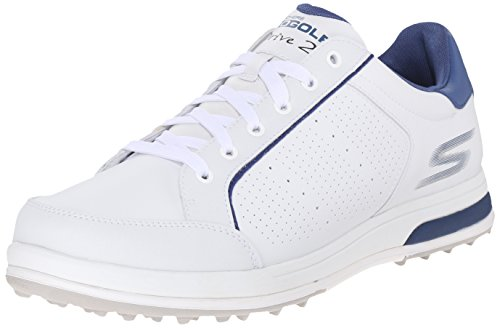 Skechers Performance Men's Go Golf Drive 2 Golf Shoe,White/Navy,10 M US (Skechers Go Golf Pro 2 Lx Golf Shoes)