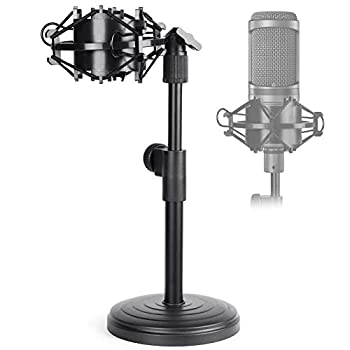 AT2020 Desktop Microphone Stand Adjustable Table Mic Stand with Mic Shock Mount for Audio Technica AT2020 AT2020USB+ AT2035 ATR2500 Condenser Studio Microphone by Frgyee