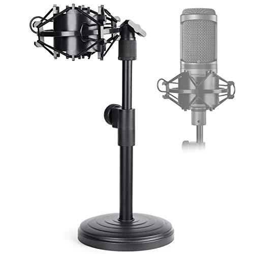 AT2020 Desktop Microphone Stand, Adjustable Table Mic Stand with Mic Shock Mount for Audio Technica AT2020 AT2020USB+ AT2035 ATR2500 Condenser Studio Microphone by Frgyee