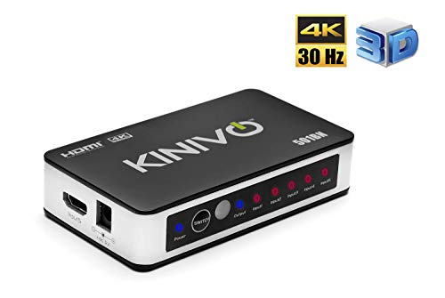 Kinivo 501BN 4K HDMI Switch with IR Wireless Remote (5 Port, 4K 30Hz, Auto-Switching)