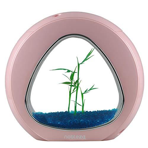 Nobleza - Nano Fischtank-Aquarium mit integrierten LED-Leuchten & Wasserpumpe, Tropische Aquarien, 4 Liter, Rosa