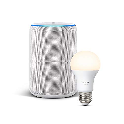 Echo Plus (2.ª generación), tela de color gris claro + Philips Hue White Bombilla LED E27