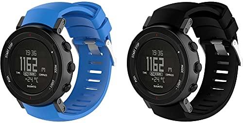 Correa de Reloj de Silicona Suave Compatible con Suunto Core ALU Black, Repuesto Ideal (Pattern 6+Pattern 8)