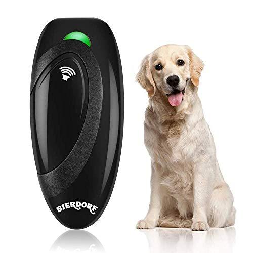 BIERDORF Antibellgerät, Ultraschall Bellkontrollgerät, Hundetrainingshilfe mit Kontrollbereich bis 16,4 Fuß, Batterie mitgeliefert, LED-Anzeige, Tragbar für Außen- und Innenbereich, Sicher, Schwarz