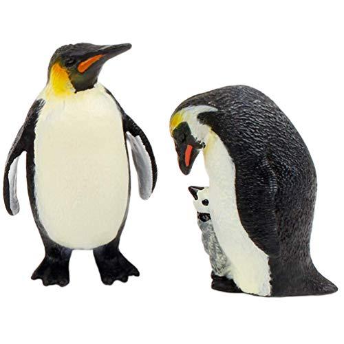 NUOBESTY 2 Piezas Pingüino Estatuilla Juguete Pareja Pingüino Estatua Figura Modelo Coleccionable Océano Animal Cake Toppers Artesanía Adorno para Niños Regalo de Cumpleaños Decoración