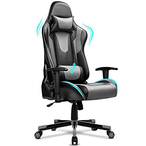 BASETBL Gaming Stuhl, Ergonomischer Gaming Sessel, PC Gamer Racing Stuhl Verstellbare Armlehne Bürostuhl Gaming Stuhl, bis 150 kg belastbar, Schwarz-Grau