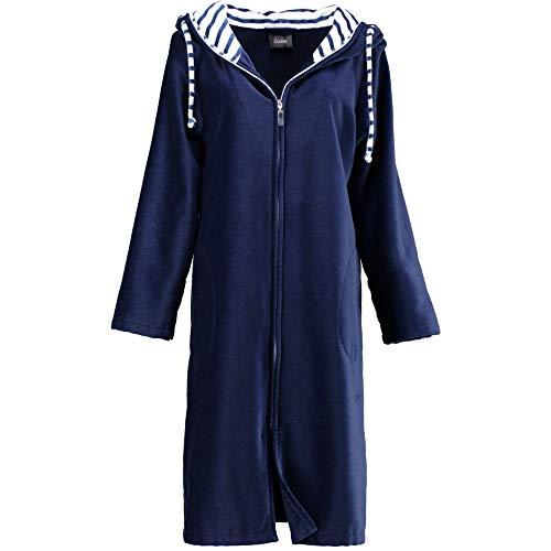 Michaelax-Fashion-Trade Cawö - Damen Bademantel Kurzform mit Kapuze und Reißverschluss (2318), Größe:38, Farbe:Marine (171)