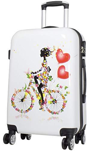 Trendyshop365 Hartschalen City-Koffer für Damen 63 Zentimeter 44 Liter 4 Räder Bunt mit Motiv Zahlenschloss